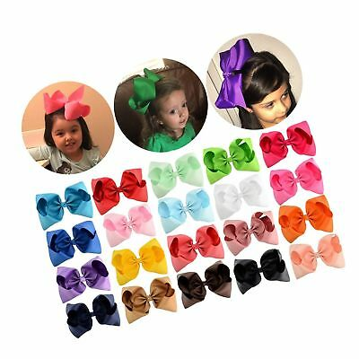 """20 Pcs 6"""" or 8"""" Large Solid Bow Hairpin Girls Bows With Rope or Clip Hair Bows"""