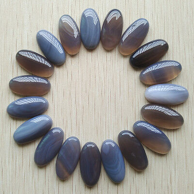 Natural grey agate oval cab cabochon beads 15x30mm 20pcs/lot wholesale