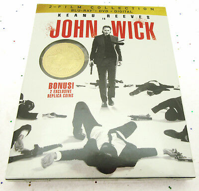 John Wick & John Wick 2 ~ 2 Movie with 2 Exclusive Collector Coins ~ Movie DVD