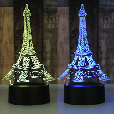 LED 3D illusion Eiffel Tower 7 Color table Night Light Lamp Bedroom Child Gift