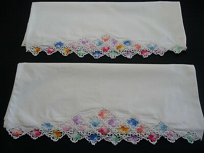 """Vintage Pair Cotton Pillowcases Crochet """"Triangle"""" Edging with Pastel flowers"""
