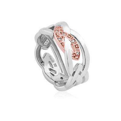 NEW Official Welsh Clogau Silver & Rose Gold Eternal Love Ring £150 off! SIZE P