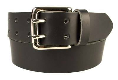 Leather Jeans Belt - Double Prong Roller Buckle Made In UK by British Craftsmen