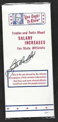 Lester Maddox Georgia GA Governor Autographed Signed Pamphlet You Ought To Know