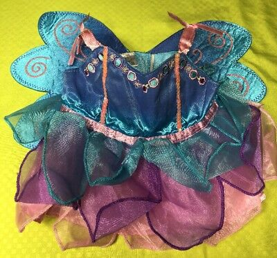 BUILD-A-BEAR Baby Dress/Costume Blue/Pink FAIRY PRINCESS Butterfly Wings H4
