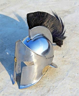 Medieval King Leonidas Spartan Helmet Roman 300 Movie Helmet Black Plume