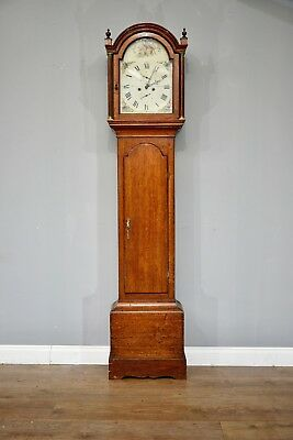 Antique oak grandfather clock R Fowle east Grinstead