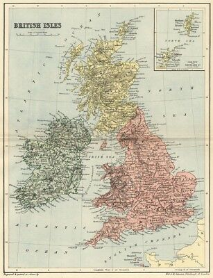 British Isles Map: Authentic 1895; England; Scotland; Wales & Ireland