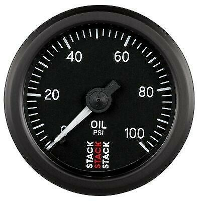 Stack 0-100 PSI Oil Pressure Gauge 52mm Mechanical Black face Illuminated 3102