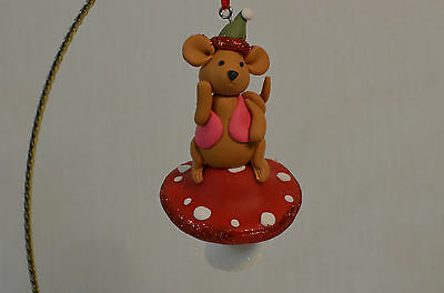 Mouse Sitting on Mushroom in Red Vest Christmas Tree Ornament new santa hat