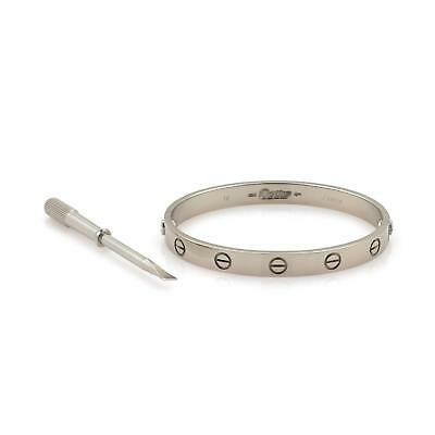 Cartier Love 18k White Gold Screw Motif Bangle Size 16 Screwdriver  Cert
