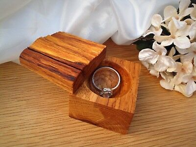 Natural oak proposal box. Ring Holder. Wooden ring box. Rustic engagement box