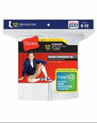 12-Pack Hanes Mens Over the Calf Tube Socks - White - Fits size 6-12 Made In USA