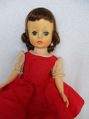 Vintage Madame Alexander Brunette Cissette Doll, Tagged Red Dress