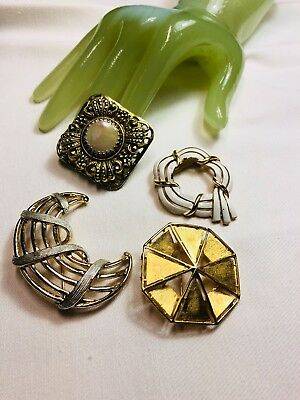 Vintage Lot of FOUR 4 Goldtone Round Shape Costume Jewelry Pins - F