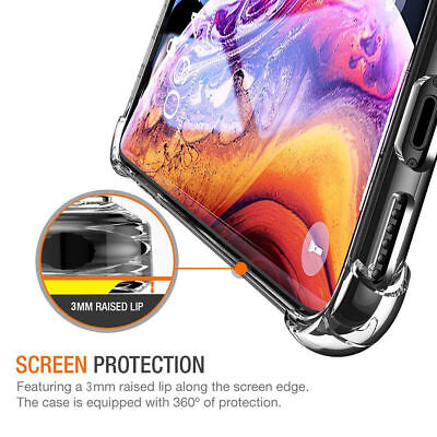 iPhone XS  XR Case Shock Proof Crystal Clear Soft Silicone Gel Bumper Cover Slim