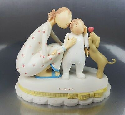 New, Rare & HTF, From Above, Mother child son & Dog, LOVE ME  figurine Demdaco