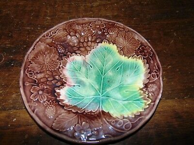 ANtique 19th C. Victorian Majolica Art Pottery Plate Dish W/Embossed Leaf NICE
