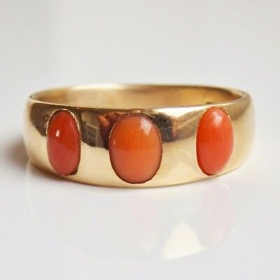 Rare Antique Scottish 18ct Gold Cabochon Coral set Edinburgh Trilogy Ring c1873