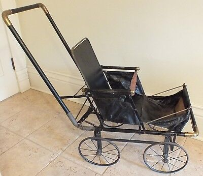 Antique Baby Doll Upright Carriage Pram Stroller Buggy Photographer's Prop