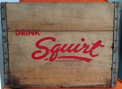 Antique wood Squirt Soda Box Crate advertising decor