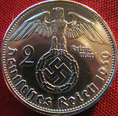 Old German 2 Reichsmark SILVER 1939 Genuine Coin Third Reich EAGLE SWASTIKA