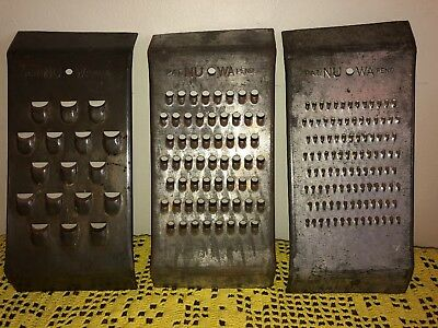 """Lot of 3 Vintage Primitive Farmhouse Tin Cheese Nut Graters Nu Wa 9 3/8"""" 4 1/8"""""""