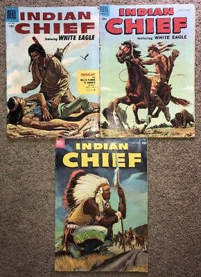 Lot of 3 Vintage DELL 10c Comic Books INDIAN CHIEF 1950s 10/17/20 w White Eagle