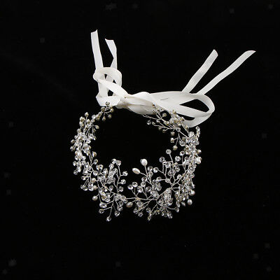 Bride Crystal Silver Headband Wedding Bridal Tiara HairBand HeadPiece