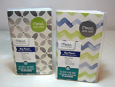 Lot Of 2-Mead 2 Year Academic Monthly Planner-2018 Thru 2020-Notes-Contacts-New
