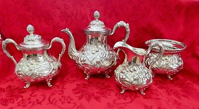 Antique 19thC American Coin Silver Lincoln & Reed Boston Ornate Repouse Tea Set