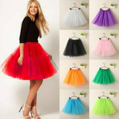 Women Girl Princess Ballet Tulle Tutu Skirt Wedding Prom Rockabilly Mini Dress