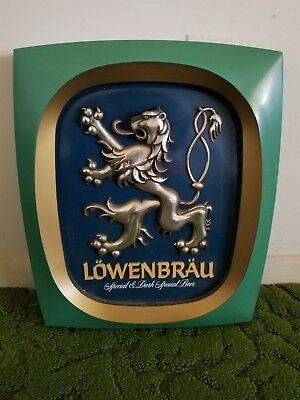 Vintage Lowenbrau plastic beer sign advertising brewery bar display man cave