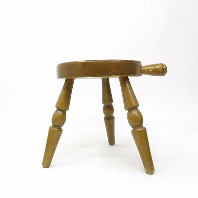Vintage Country Wooden Amish Milking Stool with handle ~ Wood Barn Milk Chair
