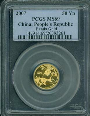 2007 PANDA GOLD COIN 50Y 1/10 Oz. CHINA PCGS 50Yn 50-Y 50 Yuan MS69
