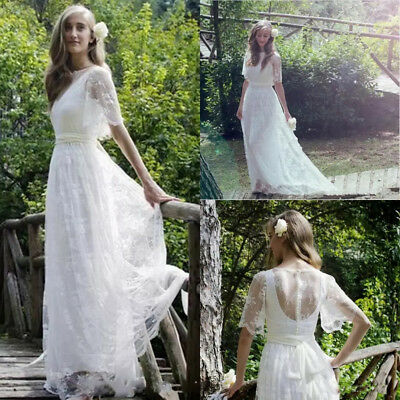 aa7419b85e New Romantic Bohemian Beach Lace Wedding Dresses Plus Size Wedding Bridal  Gown
