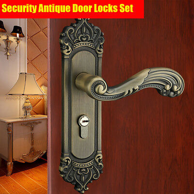 Security Lock Antique Home Door Entry Locks Set Handle Dual Latch+3Key Zinc Allo