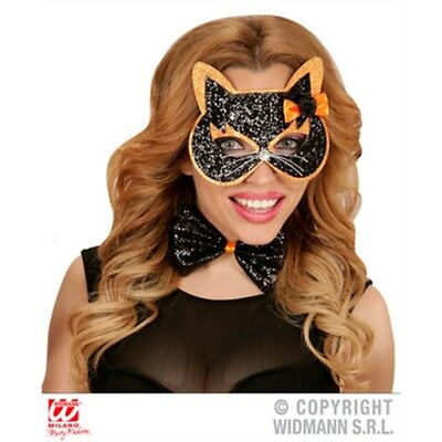 Ladies Cat Eye Mask & Bow Tie - Glitter Eye 2 Colors Ass Pet Witch Cosmetics