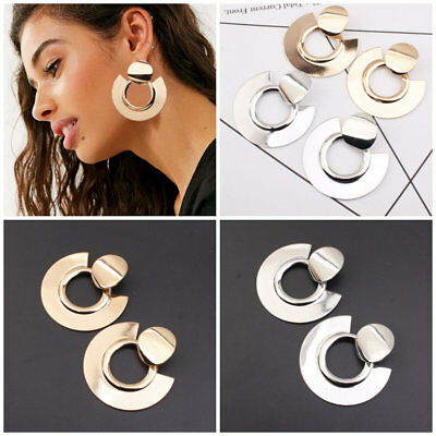 Gold Silver Plated Elegant Charm Geometric Boho Statement Circle Drop Earrings