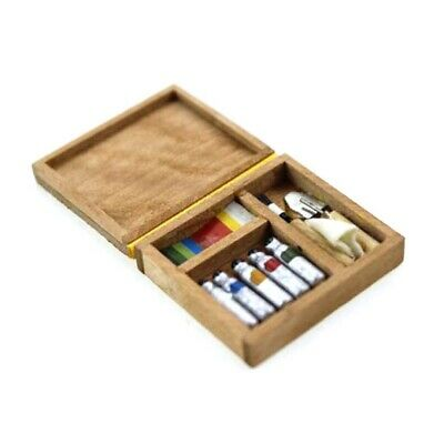Miniature Artist Paint Pen Wooden Box Model Toys For 1:12 Dollhouse Accessory