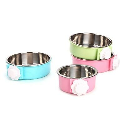 Pet Bowl Stainless Steel Water Food Feeder Dog Cat Hanging Cage Square Supplies