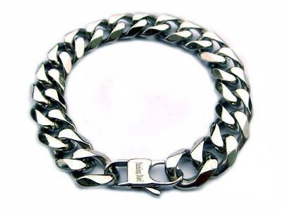 "14mm 7""-11"" Inch 316L Stainless Steel Silver Cuban Curb Link Chain Bracelet C1"