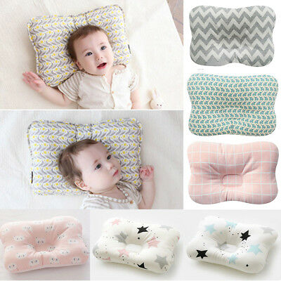 1Pcs Newborn Baby Infant Cotton Pillow Positioner Prevent Flat Head Anti Roll UK