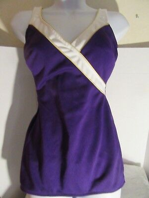 Robby len Swim fashions Womens One Piece Swimsuit Size 10 Purple W/White Trim