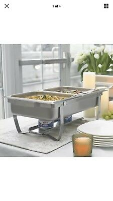 Sterno 70153 Foldable Frame Buffet Chafer Set, 8 quart, Silver