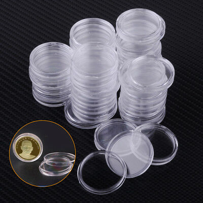100Pcs 26mm Clear Round Coin Cases Capsules Container Holder Box Storage Plastic