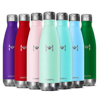 HOMPO Double Walled Vacuum Insulated Stainless Steel Water Drinks Sport Bottle