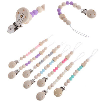 1PC Baby Wooden Pacifier Clip Chain Holder Nipple Leash Strap Pacifier Soother