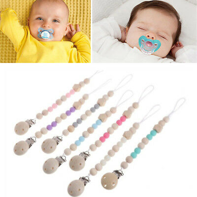 Wooden Baby Pacifier Clips Infant Soother Clasps Chain Holders Baby Teething Toy