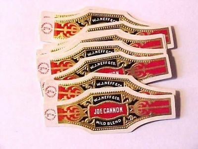 Vintage Cigar Bands - JOE CANNON - WJ Neff & Co-Consolidated Litho Qty of (35)